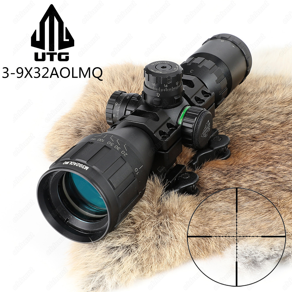 LEAPERS UTG 3-9x32 AOLMQ Compact Mil Dot Reticle Hunting Optics Riflescopes Locking W/ Sun Shade & QD Rings Tactical Rifle Scope ohhunt hunting optics 3 9x32 ao compact 1 2 half mil dot reticle riflescopes turrets locking with sun shade tactical rifle scope