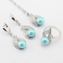 Luz Azul Simulado-Perla Blanca CZ Joyería Color de Plata Para Las Mujeres Collar Colgante Largo Pendientes Anillos Regalo caja