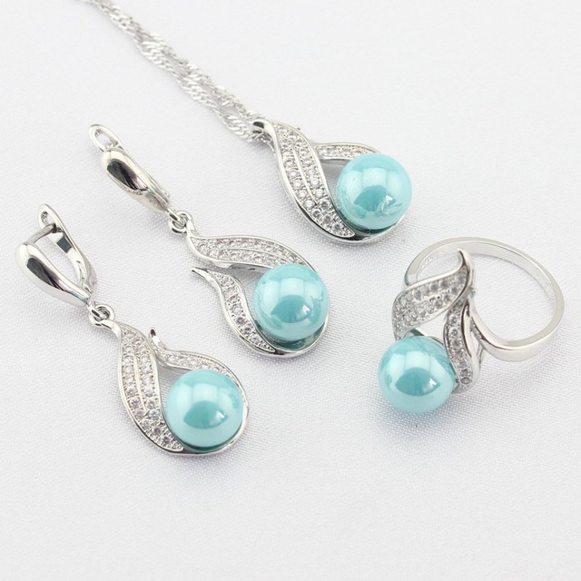 Light Blue Simulated-Pearl White CZ Silver Color Jewelry Sets For Women Necklace Pendant Long Earrings Rings Free Gift Box