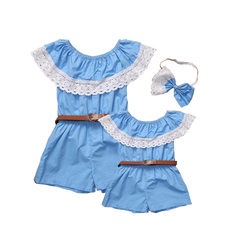 Girls Baby Rompers Jumpsuit Summer Sleeveless One-pieces Blue Lace Crew Neck Baby Girl Romper Infant Toddle Newborn Clothes D35