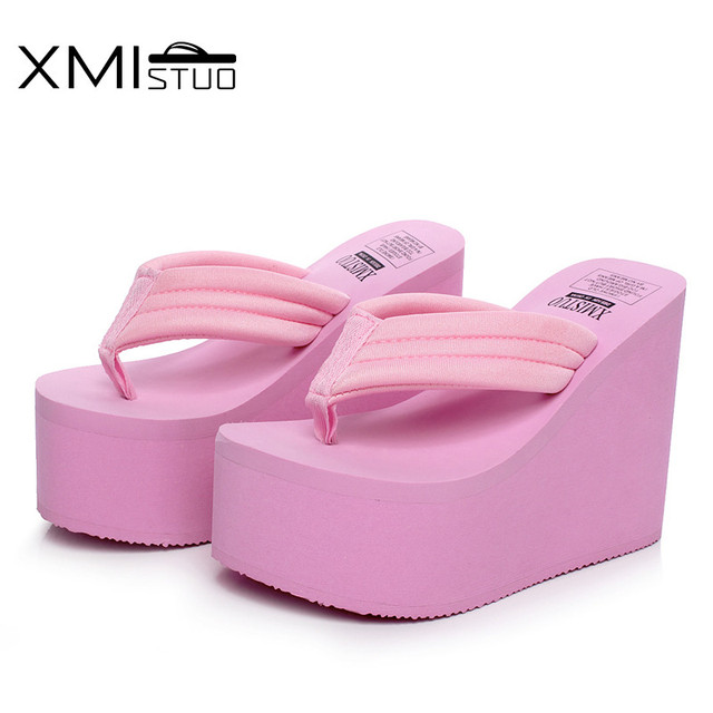 XMISTUO Women Flip Flops Female Summer Beach Wedges Flip-Flop Super 12cm High-heeled with Platform Slippers 4 Color 7035