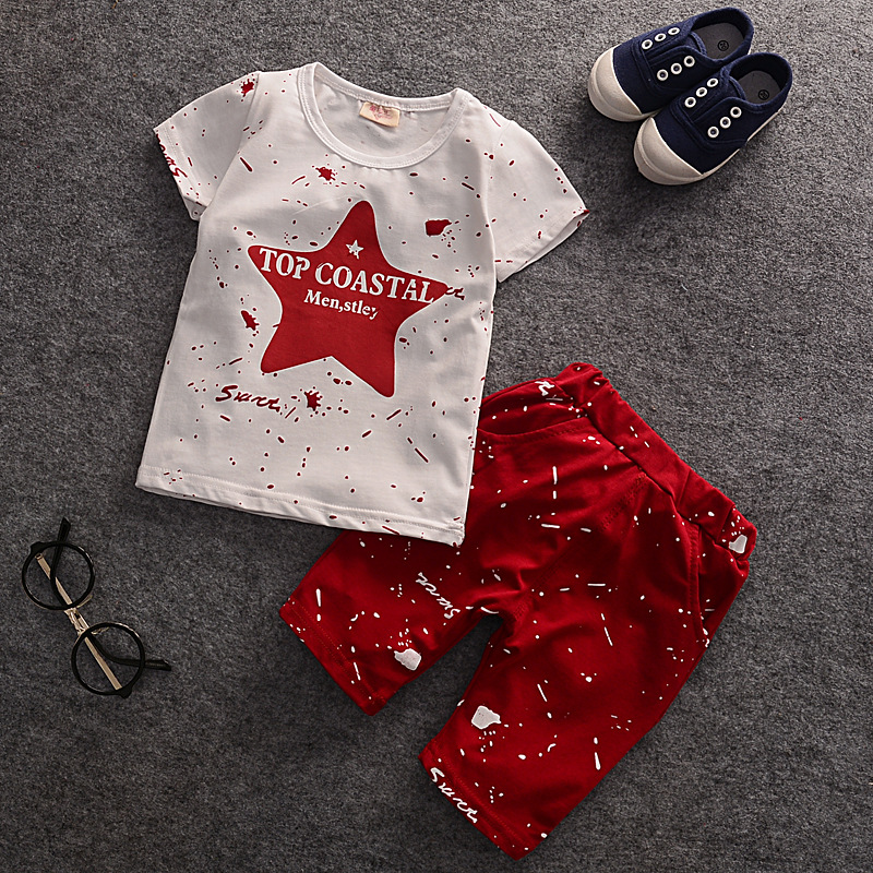 2017 Summer Baby Boys Clothes Kids Short Sleeve Clothing Set Print Star Toddler Boy's T-Shirts+ Shorts Hot Girl's Tops and Pants