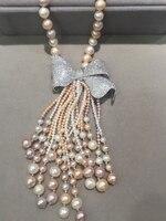 Многоцветный 8 9 мм длинные пресноводный жемчуг Цепочки и ожерелья Nearround, silsver фианит кисточки Женская мода ювелирные изделия