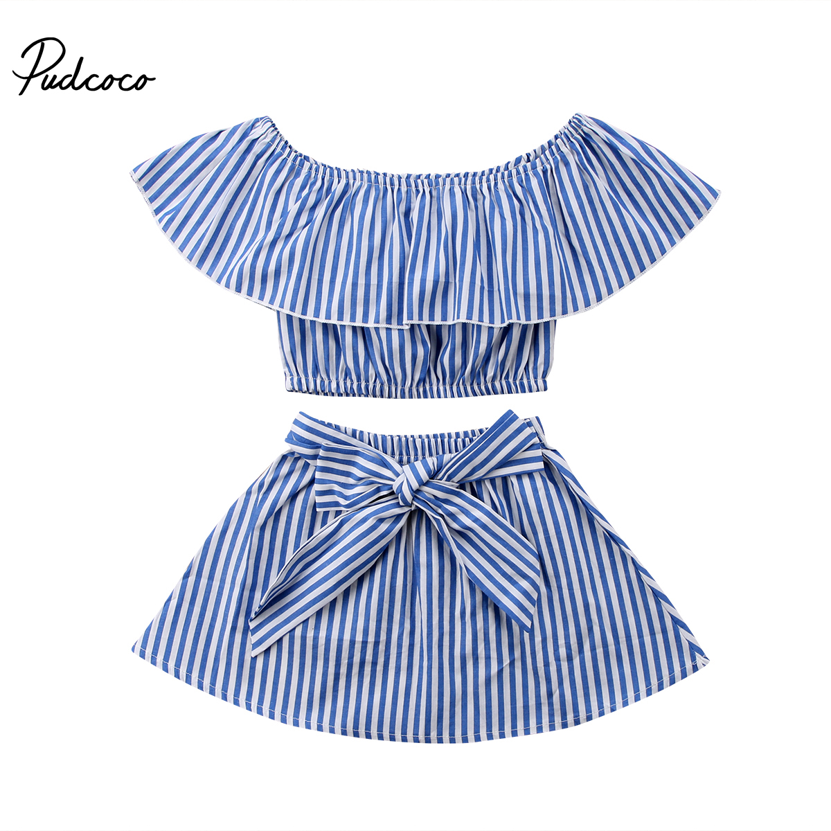 все цены на Kids Toddler Girl Summer Clothing Set Ruffle Off-Shoulder T-shirt Top+Bow Skirt Tutu Dress Stripe Baby Clothes Outfit