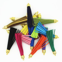 50pcs 85mm Suede Leather Tassel Fiber Fringe Tassel with Silver Caps DIY Handmade Jewelry Bracelet Accessories(China)