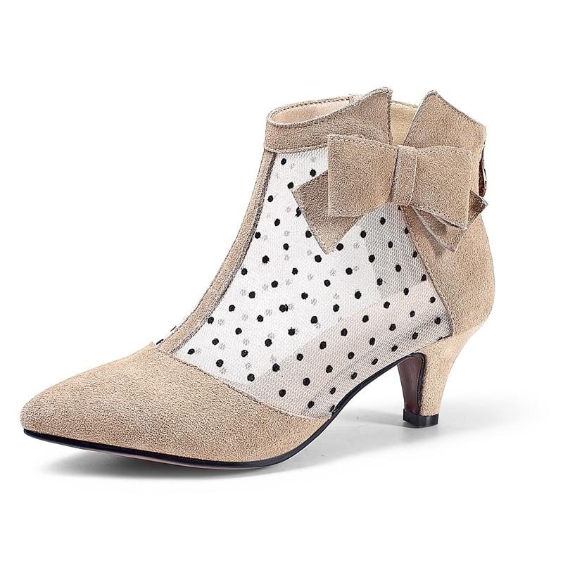65d60e69 Moda Bolso Cremallera Pajarita Tobillo Cr1190 De Zapatos Mujer Goma Botas  Gamuza Punta Fino apircot Tacón ...