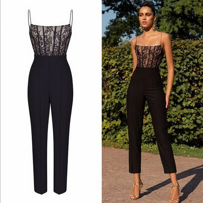 Summer Womens Casual Lace Sleeveless Jumpsuit Slim Party Straight Leg Long Trousers Romper in Jumpsuits from Women 39 s Clothing