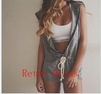 Sexy Hooded Jumpsuit Rompers Sleeveless Playsuit Shorts Pants Coveralls Clubwear Nightclubs Party Sport Suits Women Casual