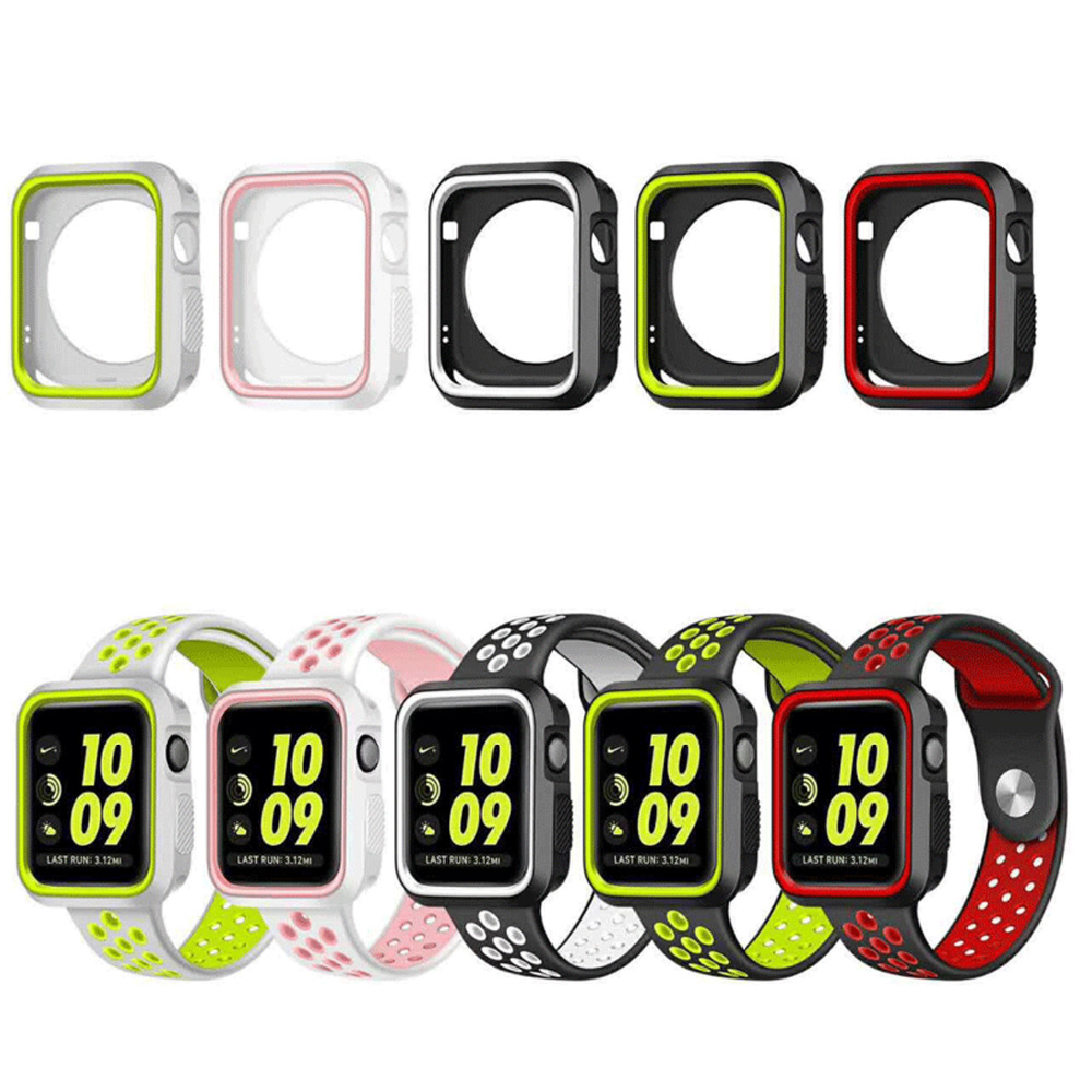 EIMO silicone cover for Apple watch case 42mm 38mm Nike sport band strap full rubber protector case for iwatch series 3/2/1 new silicone case watch frame for apple watch series 3 2 1 38mm 42mm watch band full protection case cover for apple iwatch 3 2