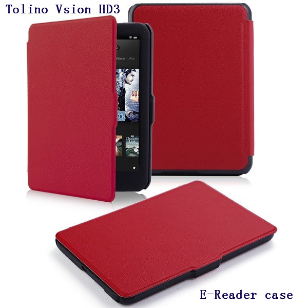 Ultra slim thin leather cover case smart PU leather case for 2015 tolino vision hd3 ereader smart cover case image