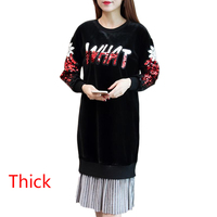 Fashion Velvet Women Dress Loose Winter Dress New Korean Women Clothing Velvet Thickening Letters Appliques Lady