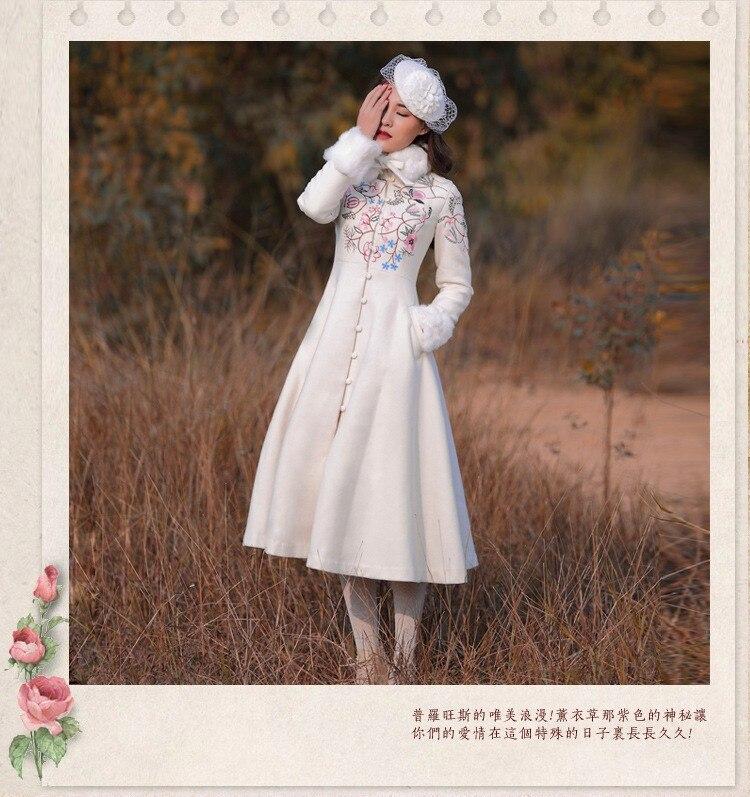 Зимнее женское пальто, винтажная Ретро Вышивка, однобортное шерстяное пальто с меховым воротником, настоящая фотография