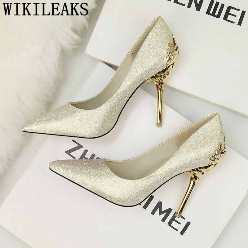 Wedding Sandals For Bride.Dress Shoes Women Luxury Heels Wedding Heels Bride Shoes Stiletto Tacones Party Shoes Gold Heels New Arrival 2019 Bayan Ayakkabi
