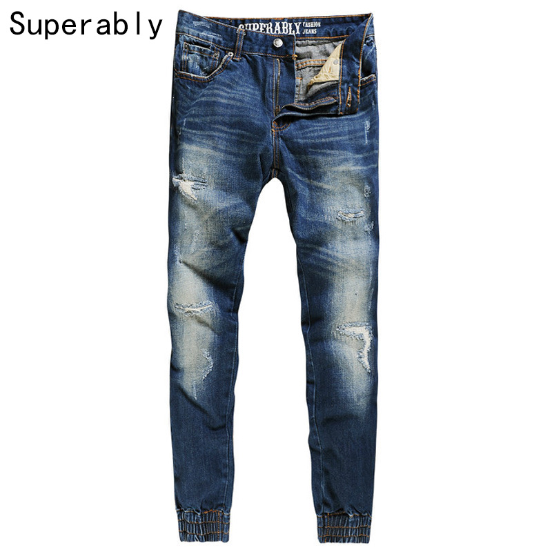 Superably Brand Men Jeans High Quality Dark Blue Destroyed Ripped Jeans Men Denim Casual Pants Stripe Jogger Jeans Size 36 38 40 2017 new hiphop men hole jogger pants high quality casual destroyed skinny ruched jeans hole casual pants jogger rock jeans