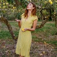 Women LENA Robe Mi longue Polka Dot Print Closure Front Buttons Short Sleeve Viscose Ruffle Yoke V Neck Midi Dress
