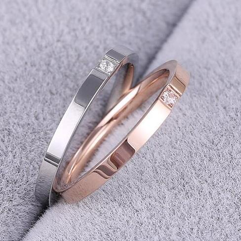 Rose Gold color crystal couple rings for men and women bague, fashion narrow stainless steel ring men anelli jewelry joias
