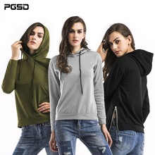 PGSD 2019 New Simple Fashion spring Women Clothes Side zipper Loose long sleeve Pure Frenulum Pullover Hoodie Sweatshirts female