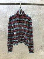 Осенне зимний модный женский топ с длинными рукавами, топы для подиума, женский свитер
