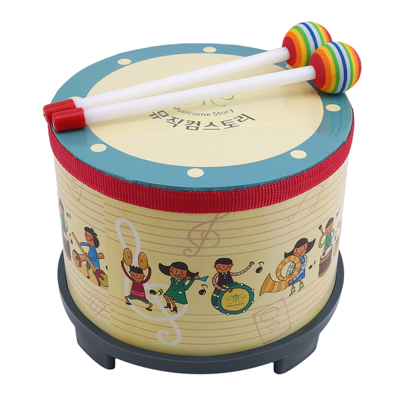 1Pc Wooden Percussion Floor Drum&Mallet Musical Instrument Toys For Children Kindergarten Music Learning Education Teaching Aids