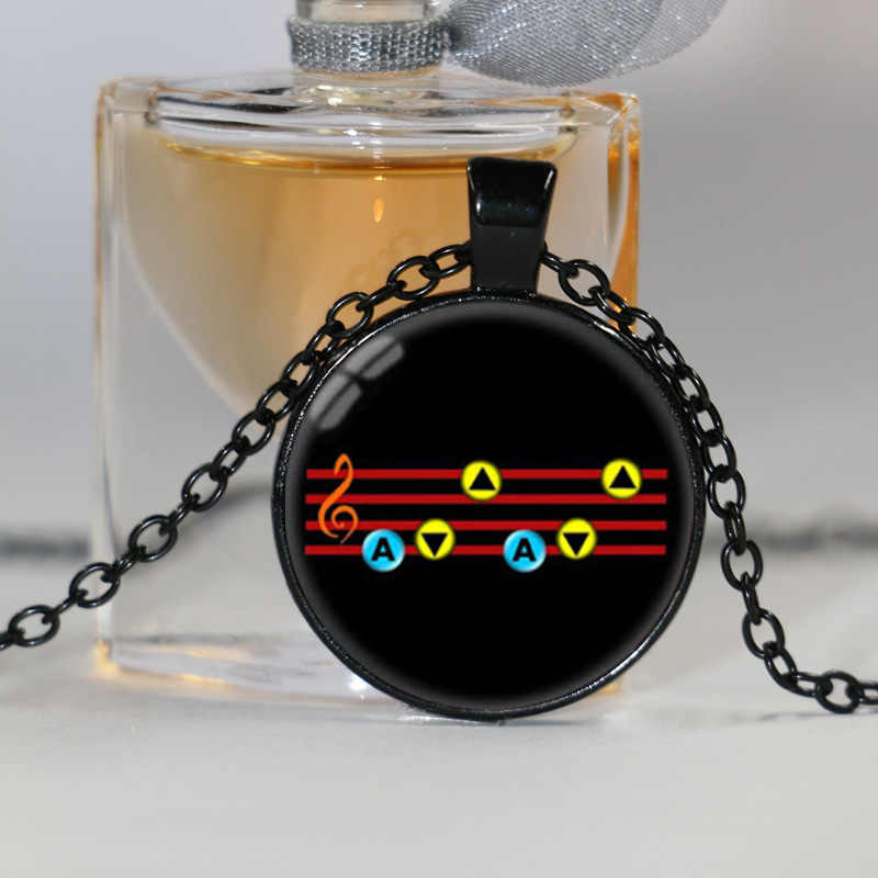 The Legend of Zelda Pendant Ocarina of time Necklace Song of Storm Jewelry  Glass Dome Pendant Necklace