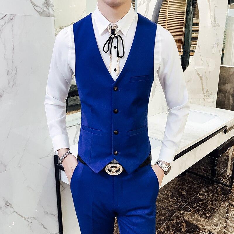 Pure Color Men 2 Piece Set Fashion Casual Men Suit Vests and Pants Size S XL 2XL 3XL Man Dress Waistcoat with Trousers