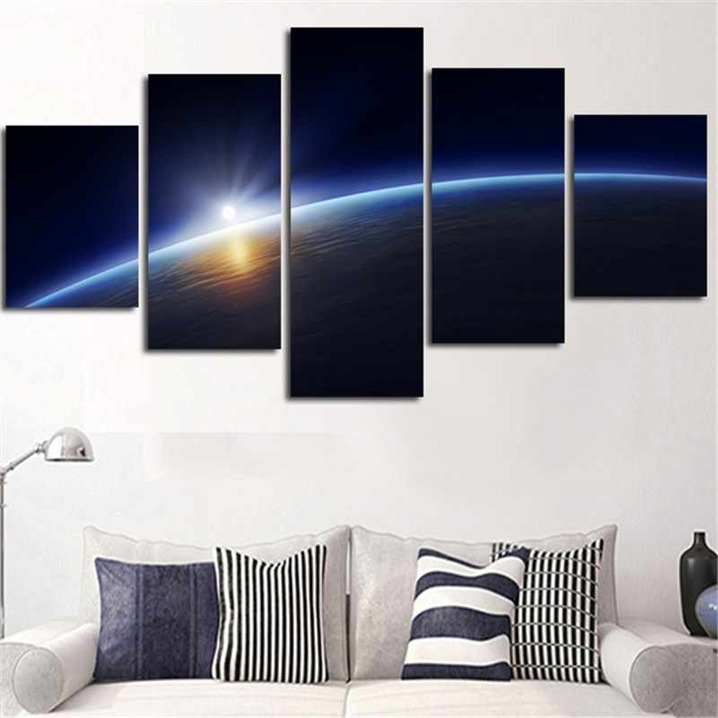 5 Pieces HD Print  Home Decor Canvas Paintings Frame Living Room  Earth Milky Way Space Poster  Planet  Pictures Wall Art