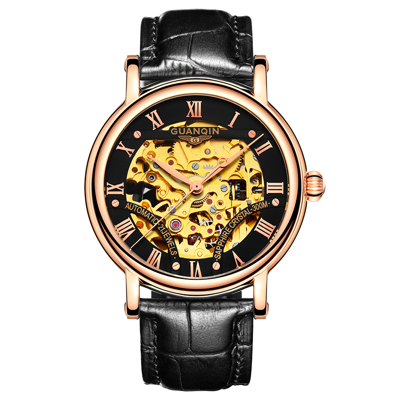 GUANQIN GJ16053 watches men luxury brand Mechanical Watch Automatic Watch Leather Sapphire Tourbillon Hollow Wristwatch Skeleton holuns original luxury automatic mechanical watch golden big dial sapphire mirror hollow watch men casual retro leather watches