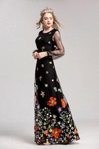 Image 2 - 新着 2020 女性の O ネック長袖高級刺繍エレガントなマキシウエディング滑走路ドレス