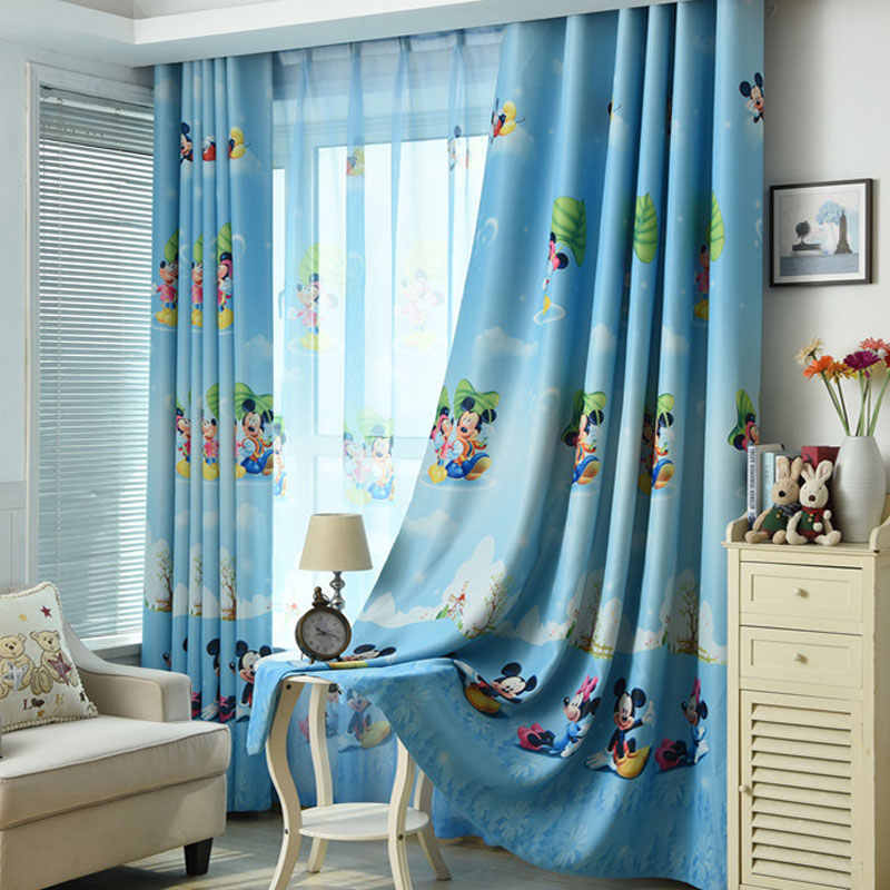 New blue Mickey Mouse print children's curtains boys bedroom children's room window pure customizable curtains
