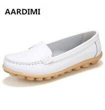 NOUVELLE VENTE printemps solide femmes appartements chaussures en cuir véritable haut qualité slip sur bout rond casual chaussures femme populaire unique mocassins