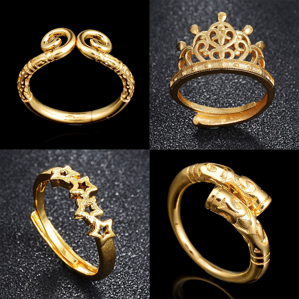 MeMolissa New Arrival East Asian Ethnic Gold Chinese Myth Monkey King Magic Spell Open Finger Rings For Women Crown/Star Ring(China)