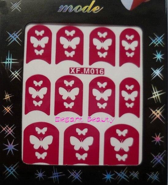 48 дизайнов модный дизайн ногтей Французский маникюр выдалбливают печатные модели наклейки для ногтей 1000 шт/Партия EMS/DHL
