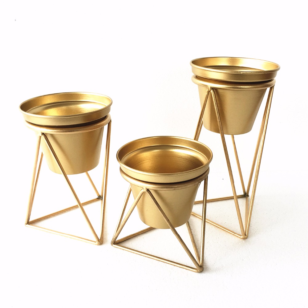 Gold Modern Tabletop Bonsai Metal Triangle Plant Pot Tray ...