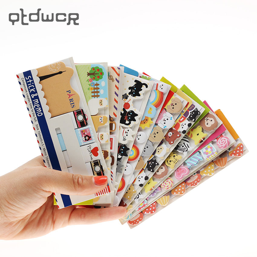 3PCS New Korea Stationery Cartoon Sticky Fresh N Times Stickers Notes on Paper Memo Pads School Supplies 200 sheets 2 boxes 2 sets vintage kraft paper cards notes filofax memo pads office supplies school office stationery papelaria