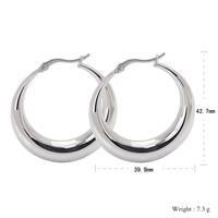 Stainless Steel Big Circle Smooth Crescent Moon Hoop Earrings For Women Silver Plated Vintage Europe Fashion Jewelry Wholesales