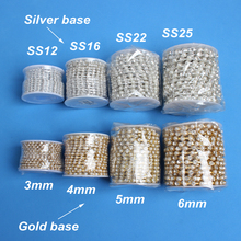 SS8 Pearl & Crystal Rhinestone chains 10yards/roll sew on Sparse cup Gold base  for garment bags free shipping