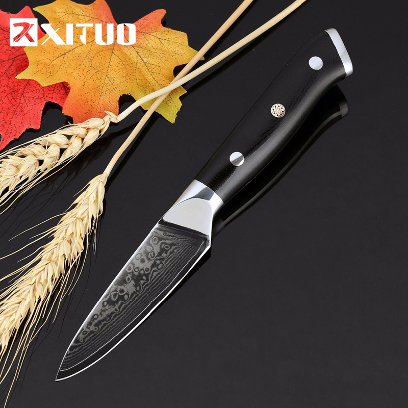 XITUO High Quality Damascus Paring Knife 67 Layer Japanese VG10 Steel Fruit Peeling G10 Handle Kitchen Chef Tools