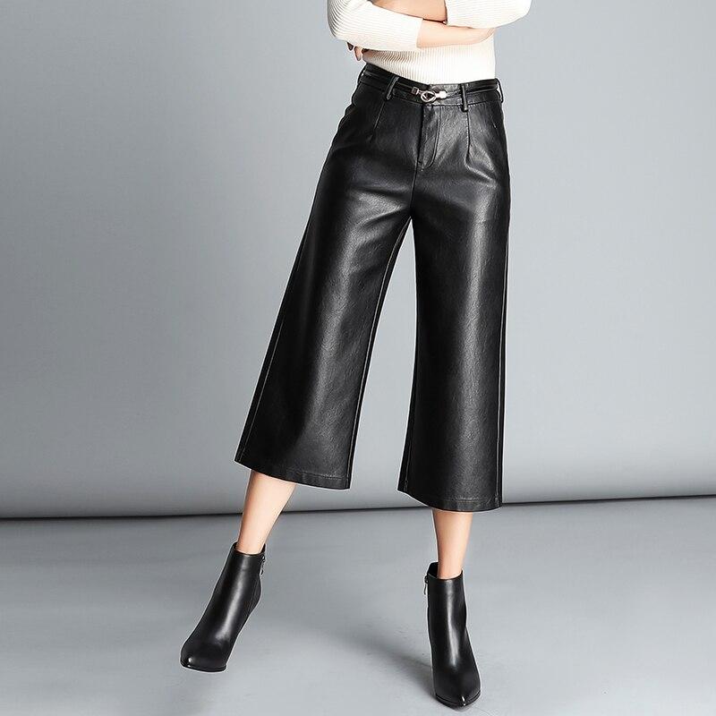 Lâche Pantalon Black Nouvelle Recadrée Et Était Cuir Large Femelle Automne En Haute Taille Printemps Occasionnel 2018 Mince YnWx7awTn