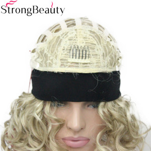 Image 5 - StrongBeauty Short Curly Synthetic Wigs with Headband Women Blue/Gray/Black/Red/Blonde/Brown Wigs 3/4 Half Wig for Lady