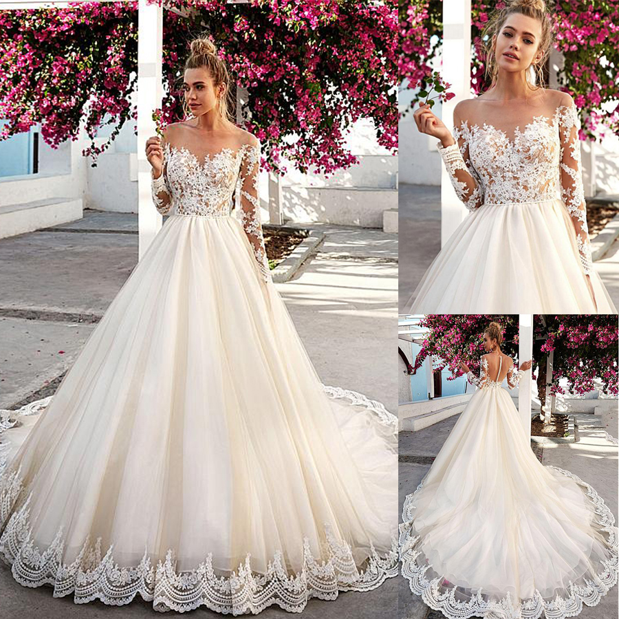 Irrsistible Tulle Bateau Neckline See-through Long Sleeves Wedding Dresses With Lace Appliques Illusion Back Bridal Dresses