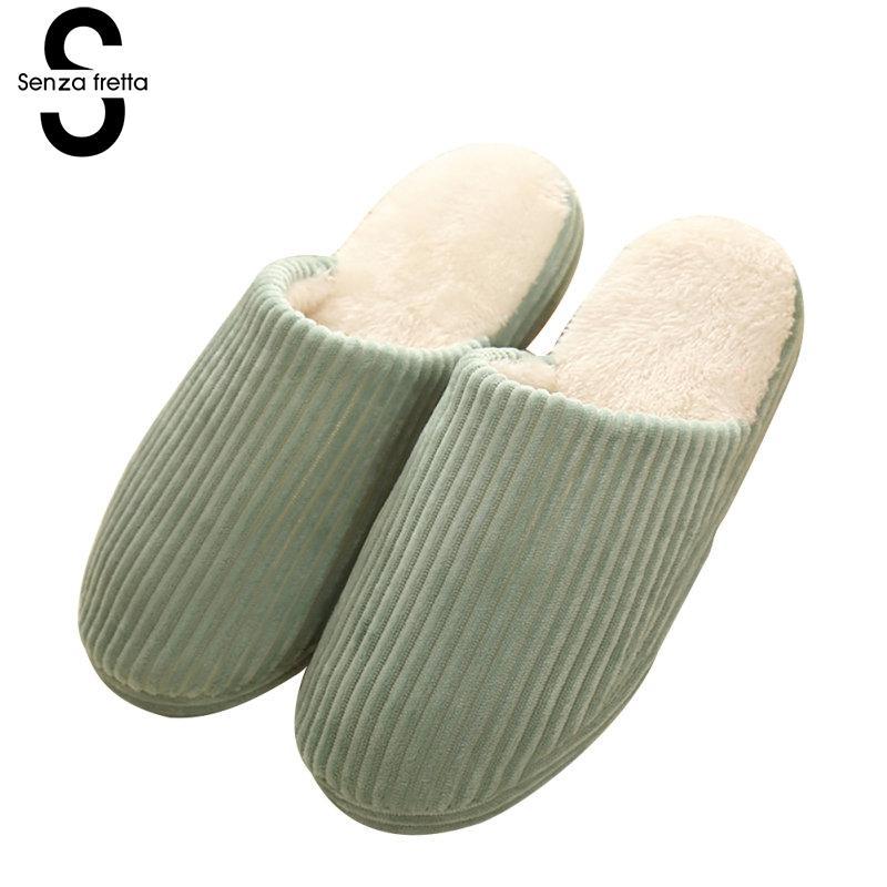 Senza Fretta Winter Warm Women Couple Slippers Soft Velvet Bottom Cotton Slippers Indoor Thick Bottom Slippers Couple Shoes цены