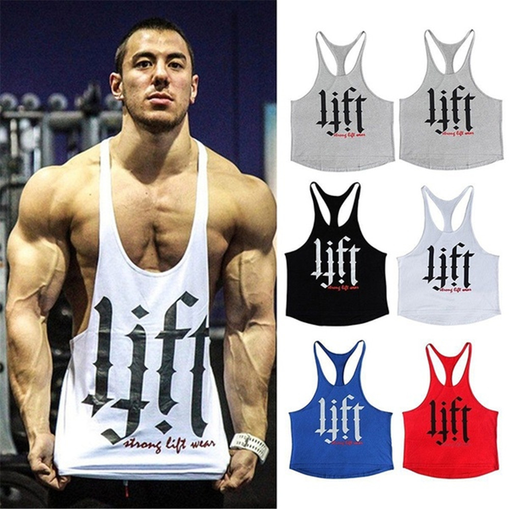 Men's Summer Fitness Sporting   Tank     Tops   Cotton Lift Print Vest Sleeveless Gym Mens Workout Clothing Muscle White Yellow
