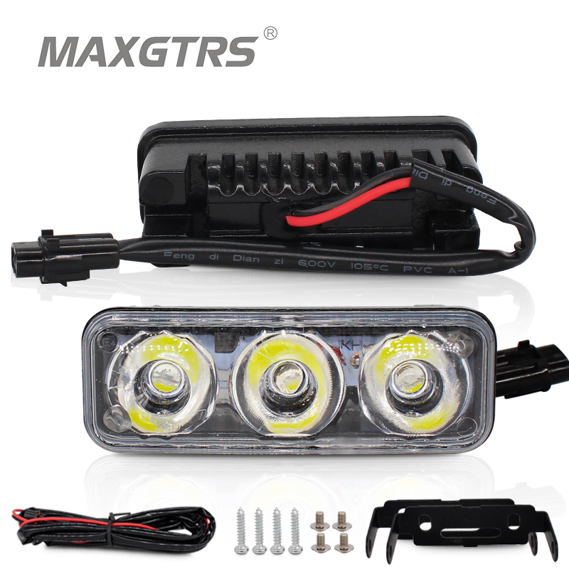 2x High Power Car Led 9W Universal Vattentät DRL Metal Shell Auto lampa vit med gul blinklys dagsljus