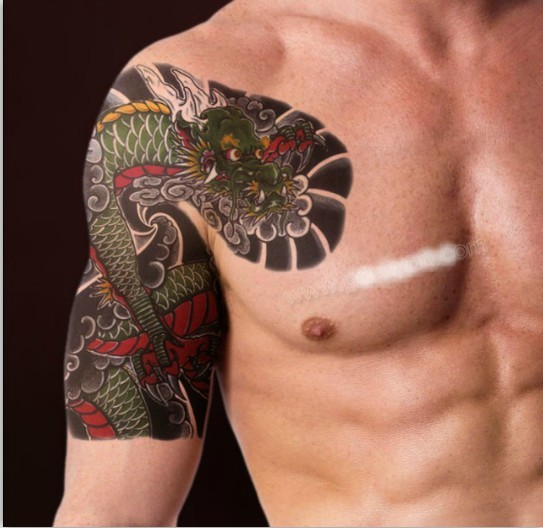 Dragon Tattoo Over Shoulder: Quality Tattoo Stickers Waterproof Men Spend Large Diagram