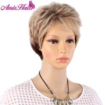 Amir destaca rubio corto Mujer pelo puffy recto pelucas de pelo corto natural pelucas de cabello para las mujeres americanas.