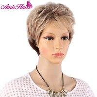 Amir hoogtepunten blonde korte vrouwelijke haircut, puffy rechte pelucas pelo natuurlijke korte haar pruiken voor Amerikaanse vrouwen