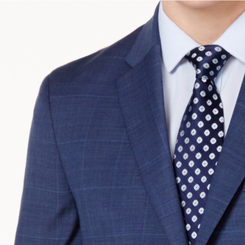 63aed13d0 US $129.9 |Navy Blue Glen Check Men Suit Custom Made Slim Fit Glen Plaid  Two piece Suit Men Prince Of Wales Checkered Suit with Windowpane-in Suits  ...