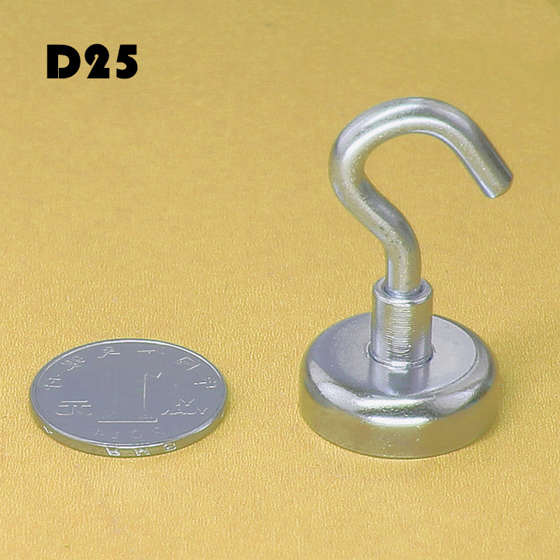2pcs Neodymium Magnet D25 search magnet Magnetic Hooks Power Hook Magnet Holder Heavy Neodymium Rare Earth Magnet For Home Door in Magnetic Materials from Home Improvement