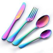 Rainbow Dinnerware Set 24PCS Stainless Steel Colorful Cutlery Set Rainbow Western Tableware Dinner Knife For Wedding