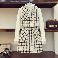 2018 Gentle Wind 3 Piece Set Autumn Woman Lace Patch Knitted Shirt + Tweed Waistcoat + A Shaped Skirt Ladies Mini Skirts Suit